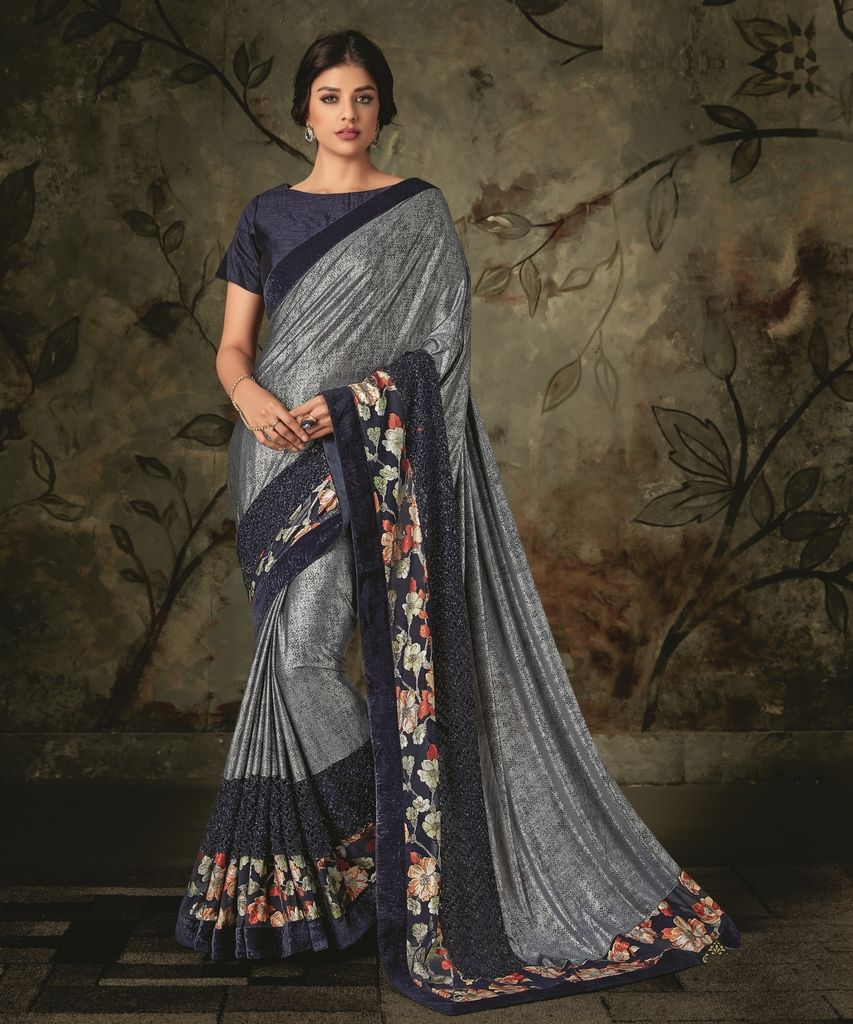 Grey & Blue Color Lycra Designer Festive Sarees : Jugni Collection  NYF-1579 - YellowFashion.in