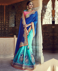 Blue & Sea Green Color Raw Silk Designer Traditional Sarees : Samanvi Collection  YF-50224