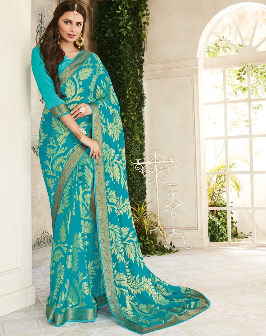 Sky Blue Color Brasso Beautiful Kitty Party Sarees NYF-4412
