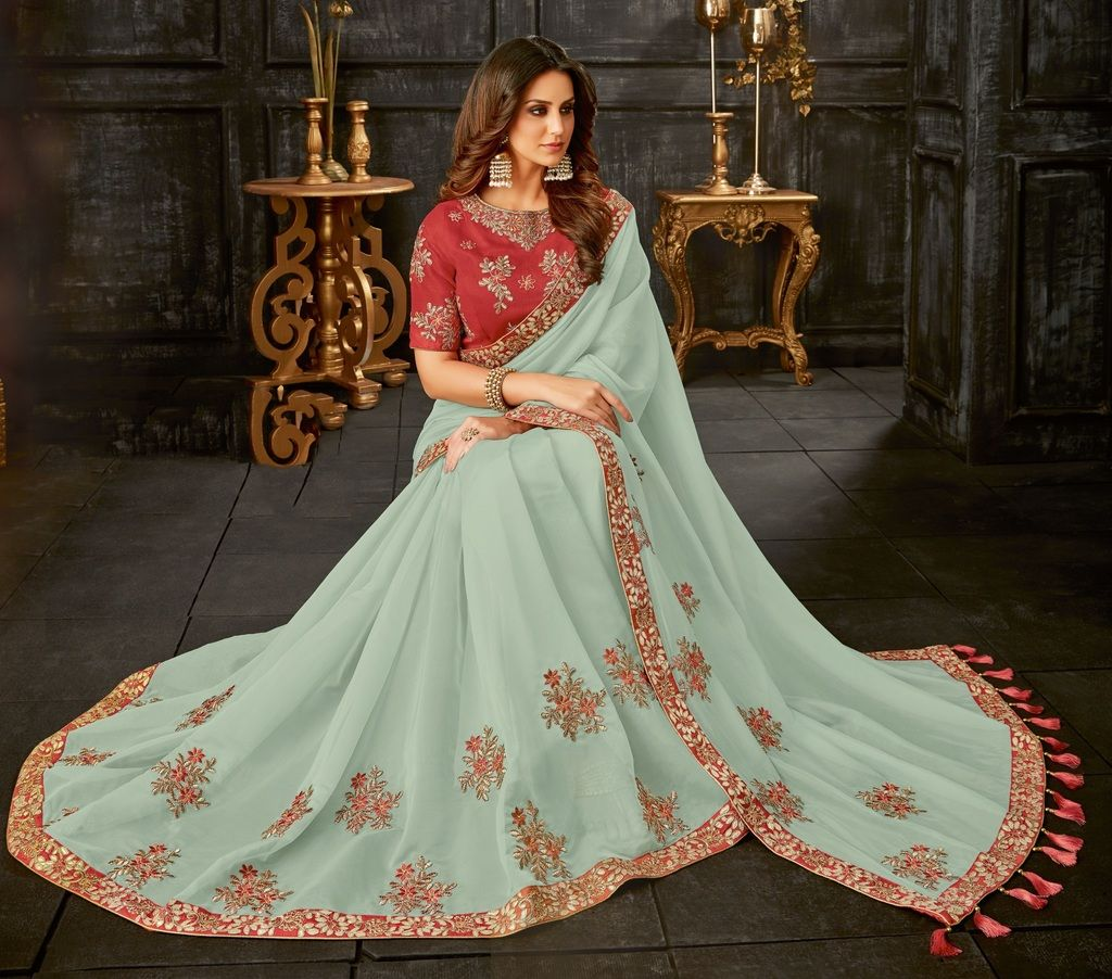 Aqua Green Color Tissue Designer Festive Sarees : Yashvita Collection  NYF-1607 - YellowFashion.in