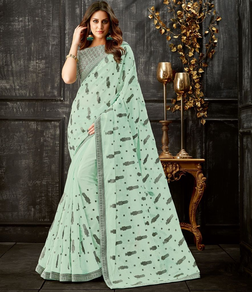Sea Green Color Tissue Designer Festive Sarees : Yashvita Collection  NYF-1609 - YellowFashion.in