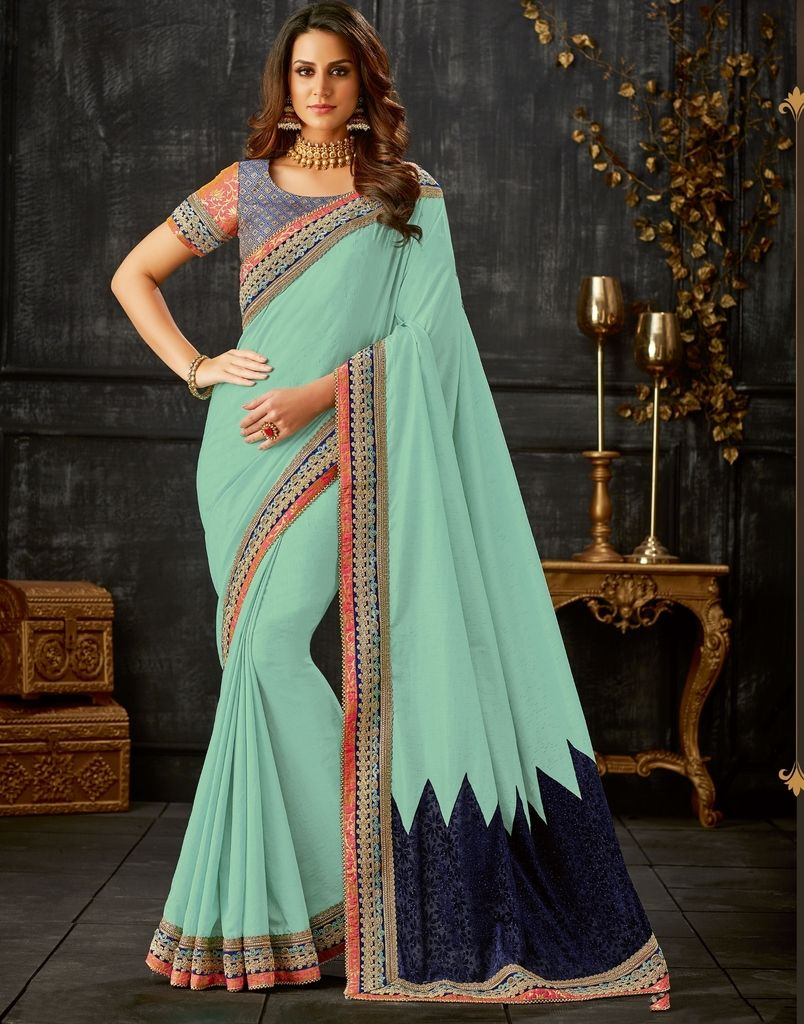 Aqua Blue Color Two Tone Silk Designer Festive Sarees : Yashvita Collection  NYF-1613 - YellowFashion.in