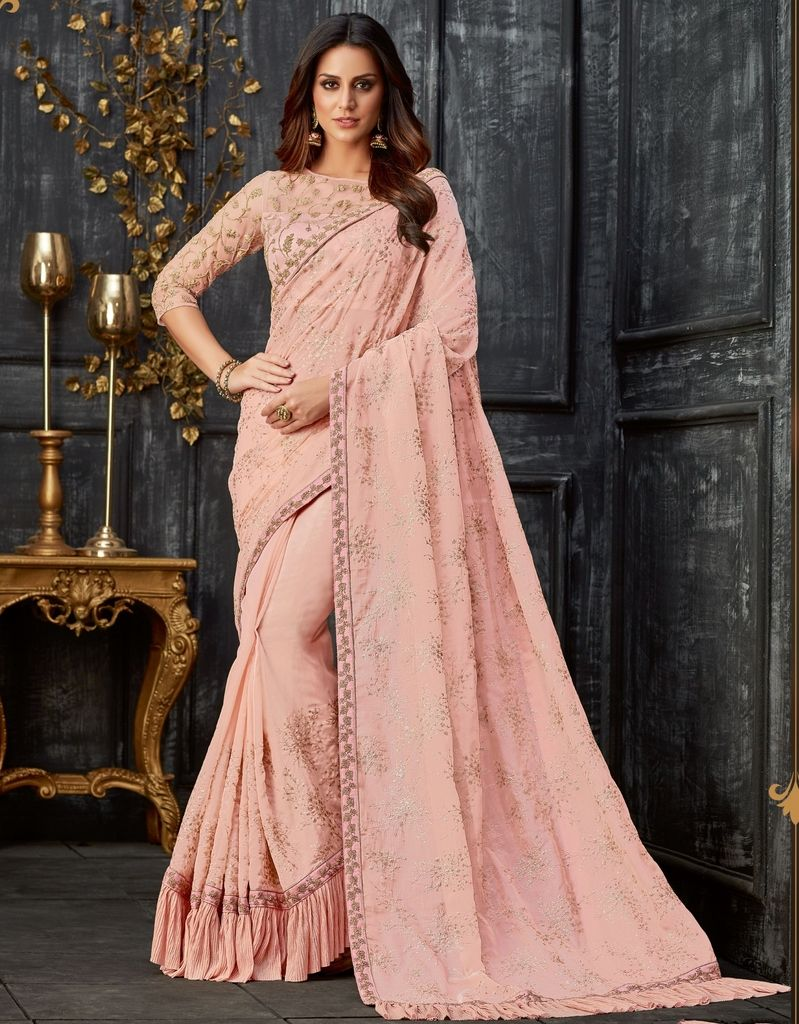 Pink Color Tissue Designer Festive Sarees : Yashvita Collection  NYF-1614 - YellowFashion.in