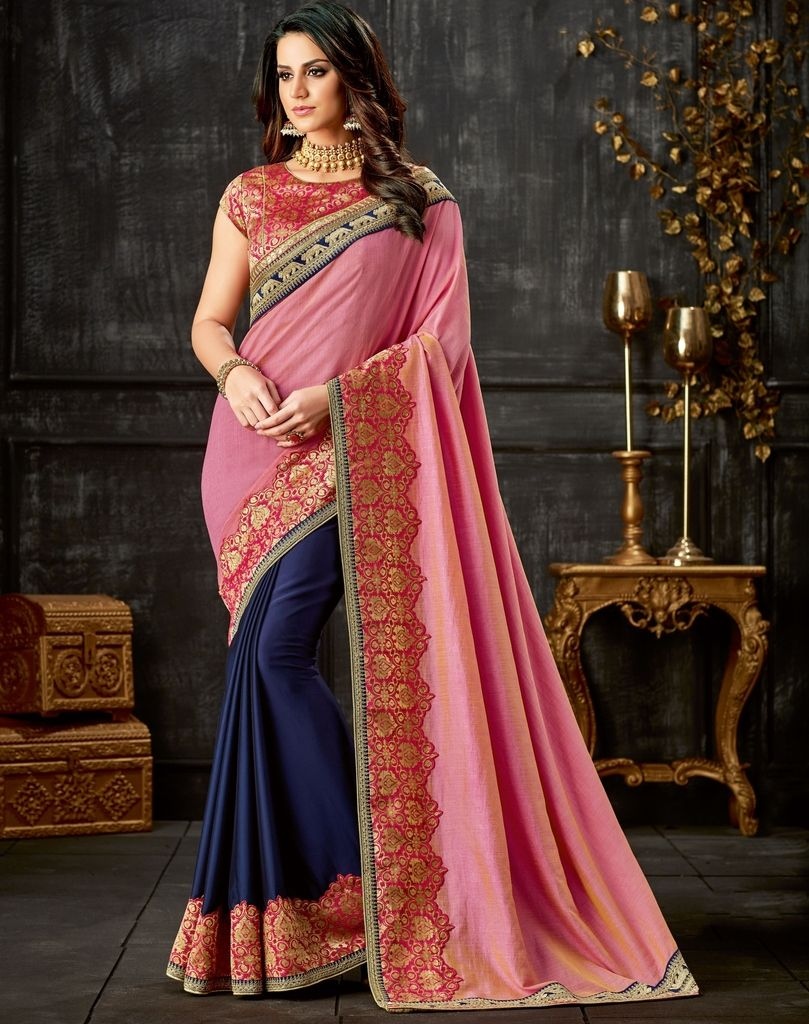 Pink & Blue Color Two Tone Silk Designer Festive Sarees : Yashvita Collection  NYF-1615 - YellowFashion.in
