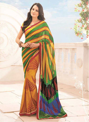 Shades of yellow and green  Color Georgette  Office Sarees : Carol Collection -YF-18410