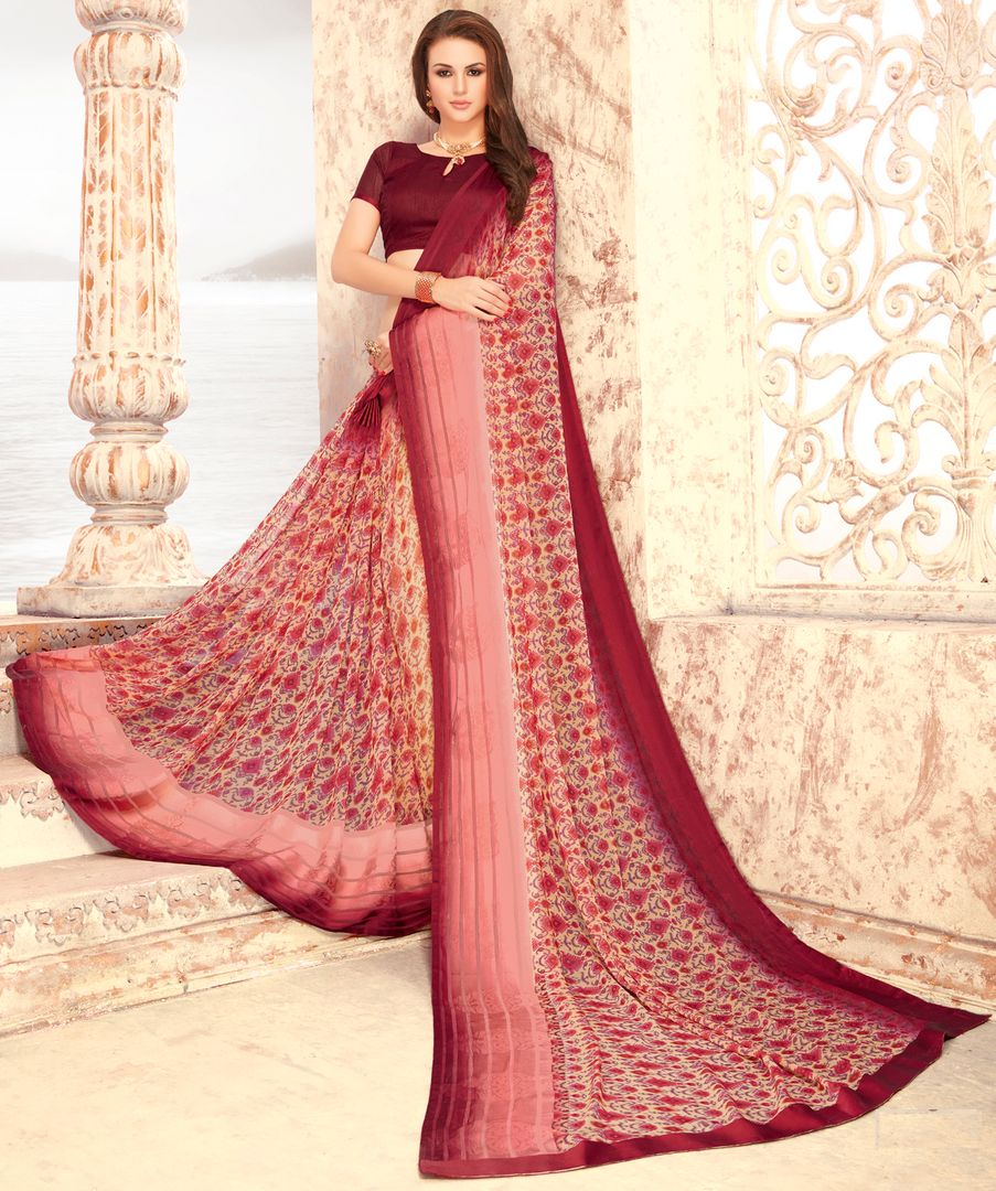 Cream & Maroon Color Chiffon Party & Function Wear Sarees : Abhima Collection  NYF-2340 - YellowFashion.in