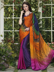 Pink And Purple Color Jacquard Crepe Special Occasion Sarees : Darcy Collection  YF-25454