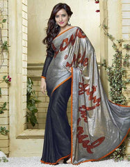 Light And Dark Grey Color Jacquard Crepe Special Occasion Sarees : Darcy Collection  YF-25455