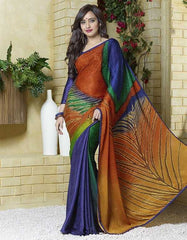 Blue, Green And Orange Color Jacquard Crepe Special Occasion Sarees : Darcy Collection  YF-25456