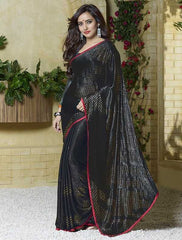 Black Color Jacquard Crepe Special Occasion Sarees : Darcy Collection  YF-25457