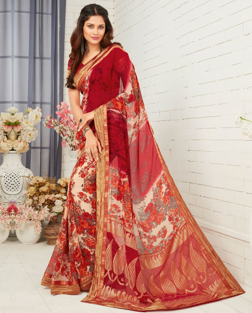 Maroon Color Georgette Party & Function Wear Sarees : Manohara Collection  NYF-2371 - YellowFashion.in