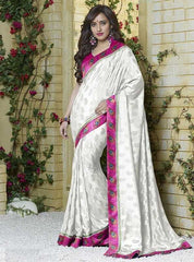 White Color Jacquard Crepe Special Occasion Sarees : Darcy Collection  YF-25458