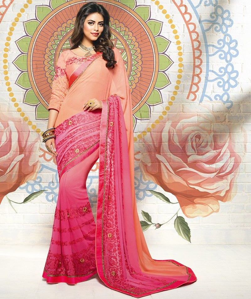 Peach And Pink Color Chiffon Designer Festive Sarees : Karini Collection  NYF-1259 - YellowFashion.in
