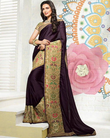 Dark Purple Color Raw Silk Designer Festive Sarees : Karini Collection  NYF-1260