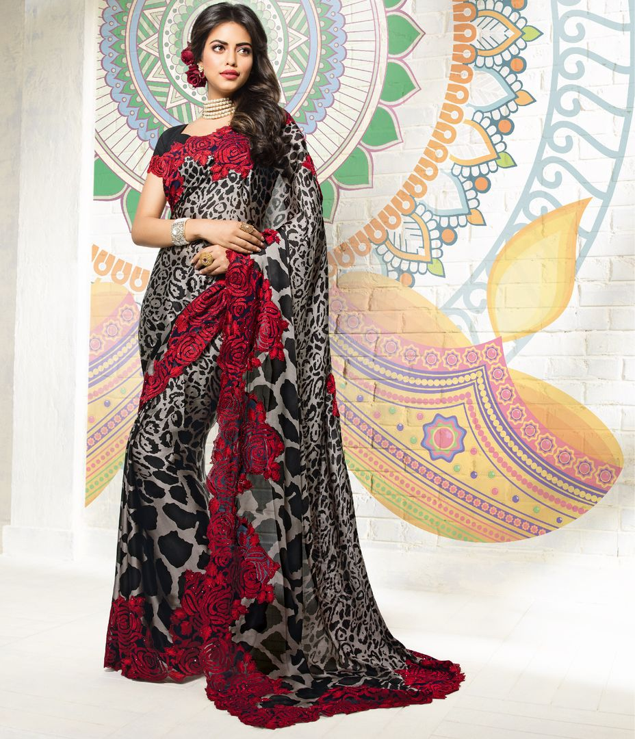 Black & Grey Color Crepe Silk Party & Function Wear Sarees : Ranjita Collection  NYF-2472 - YellowFashion.in