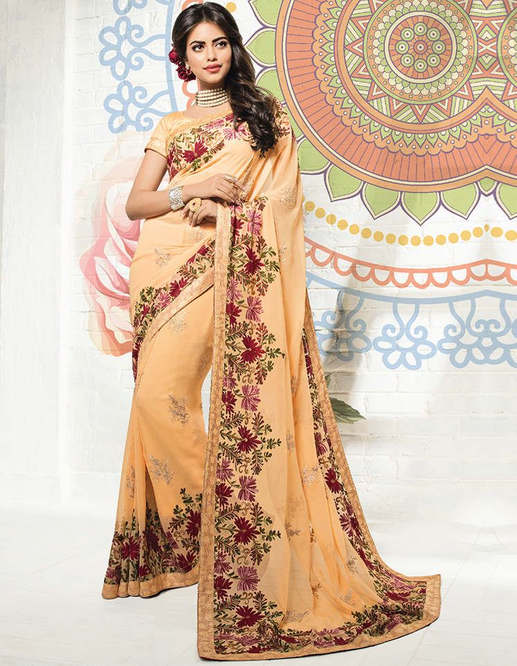 Peach Color Georgette Party & Function Wear Sarees : Ranjita Collection  NYF-2473 - YellowFashion.in