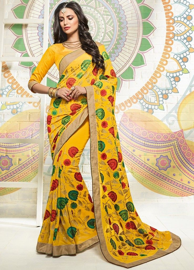 Yellow Color Chiffon Designer Festive Sarees : Karini Collection  NYF-1263 - YellowFashion.in