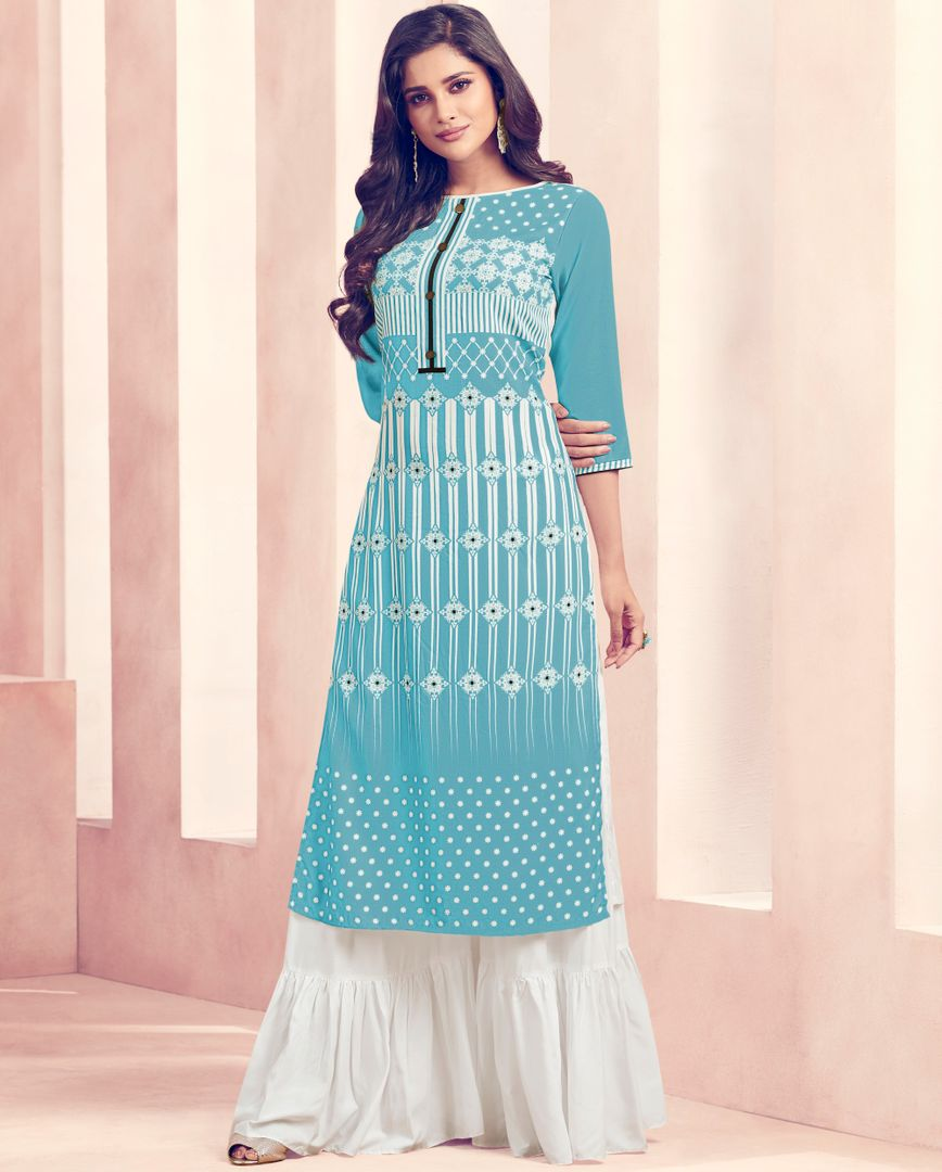 Aqua Blue Color Rayon Beautiful Kurti With Bottom NYF-4735