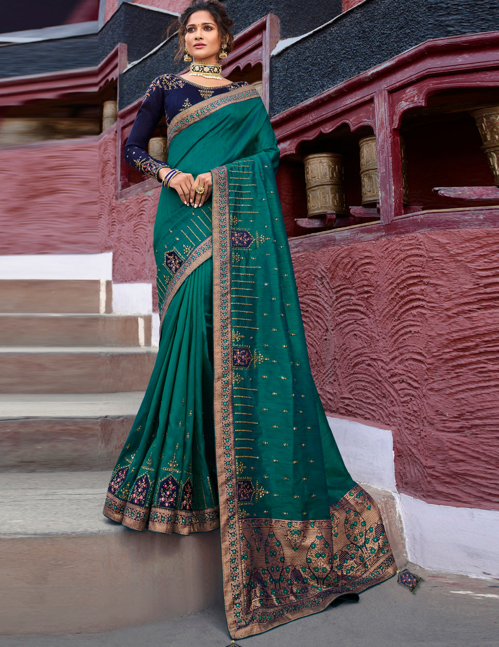 Peacock Green Color Raw Silk Classic Designer Sarees NYF-4968