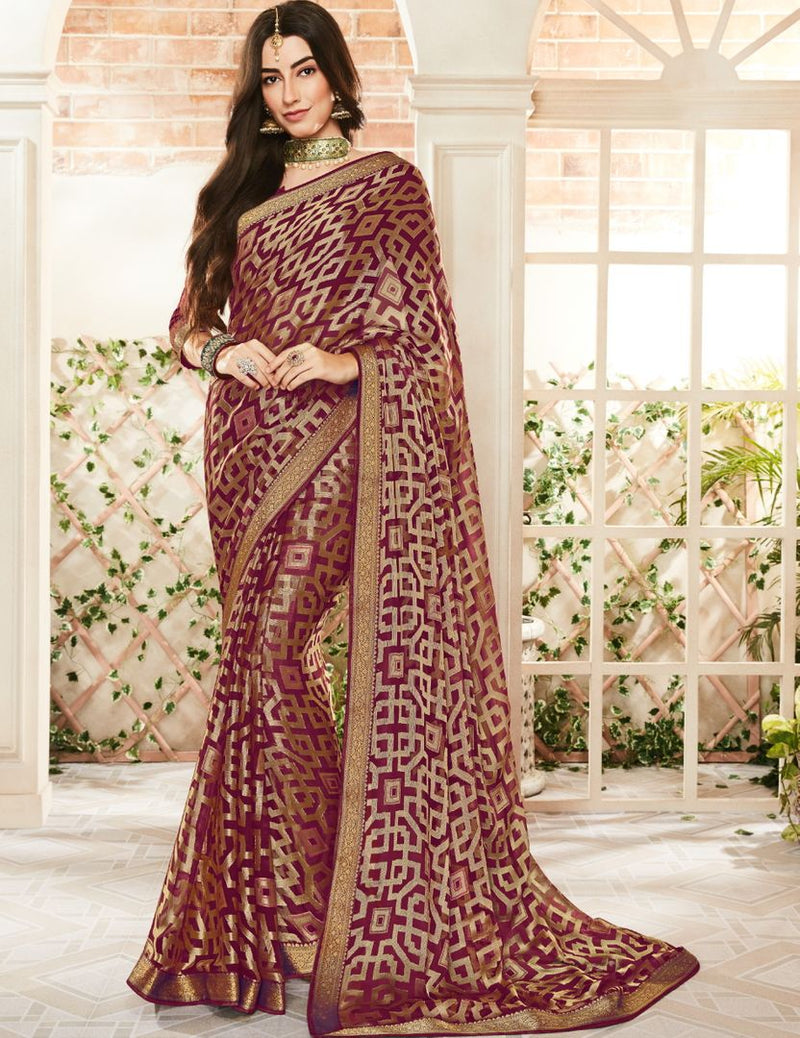 Magenta Color Brasso Beautiful Kitty Party Sarees NYF-4413