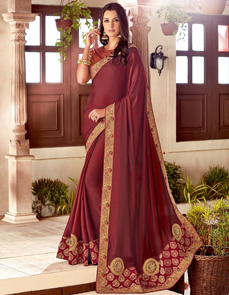 Magenta Color Two Tone Silk Designer Festive Sarees : Yashvita Collection  NYF-1620 - YellowFashion.in