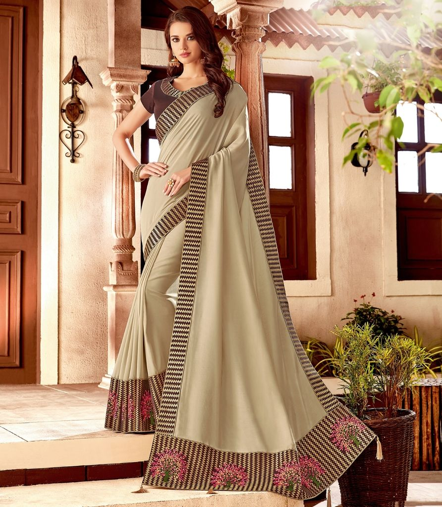 Cream Color Two Tone Silk Designer Festive Sarees : Yashvita Collection  NYF-1621 - YellowFashion.in