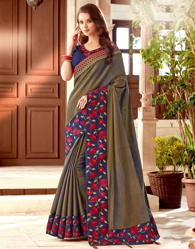 Mud Color Two Tone Silk Designer Festive Sarees : Yashvita Collection  NYF-1622 - YellowFashion.in