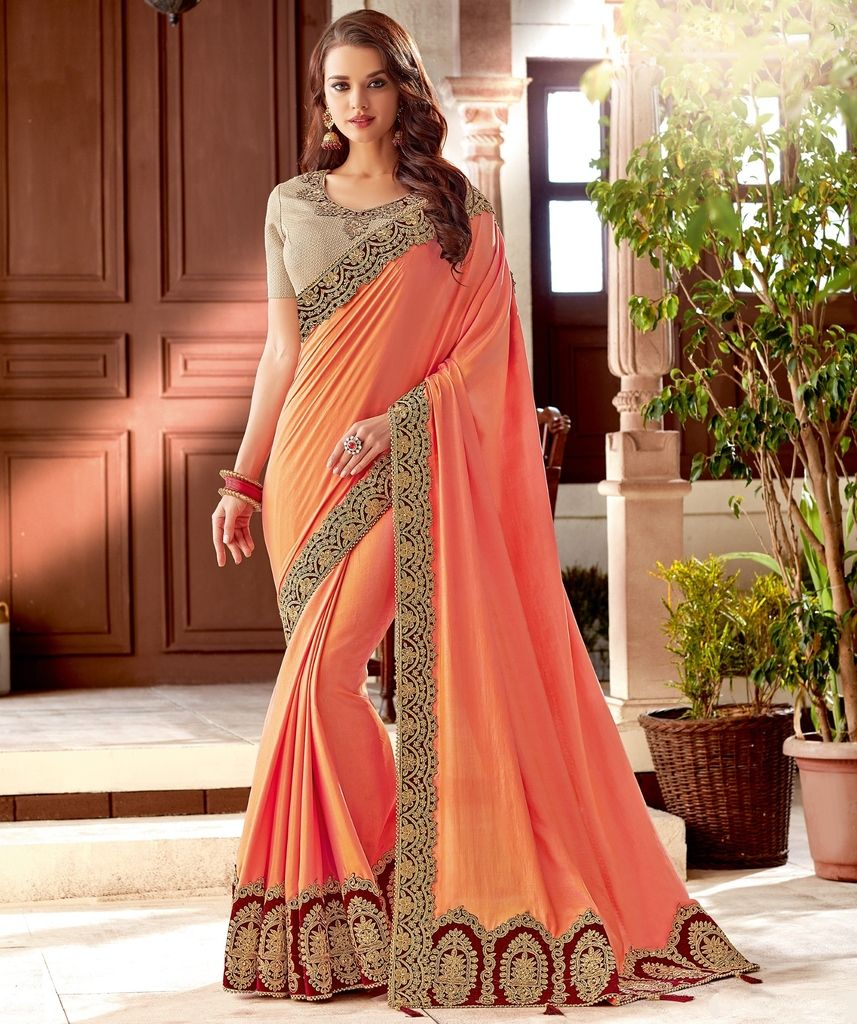 Peach Color Two Tone Silk Designer Festive Sarees : Yashvita Collection  NYF-1623 - YellowFashion.in