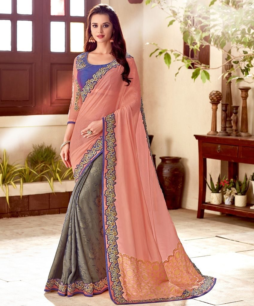 Pink & Grey Color Tissue Brasso Designer Festive Sarees : Yashvita Collection  NYF-1626 - YellowFashion.in