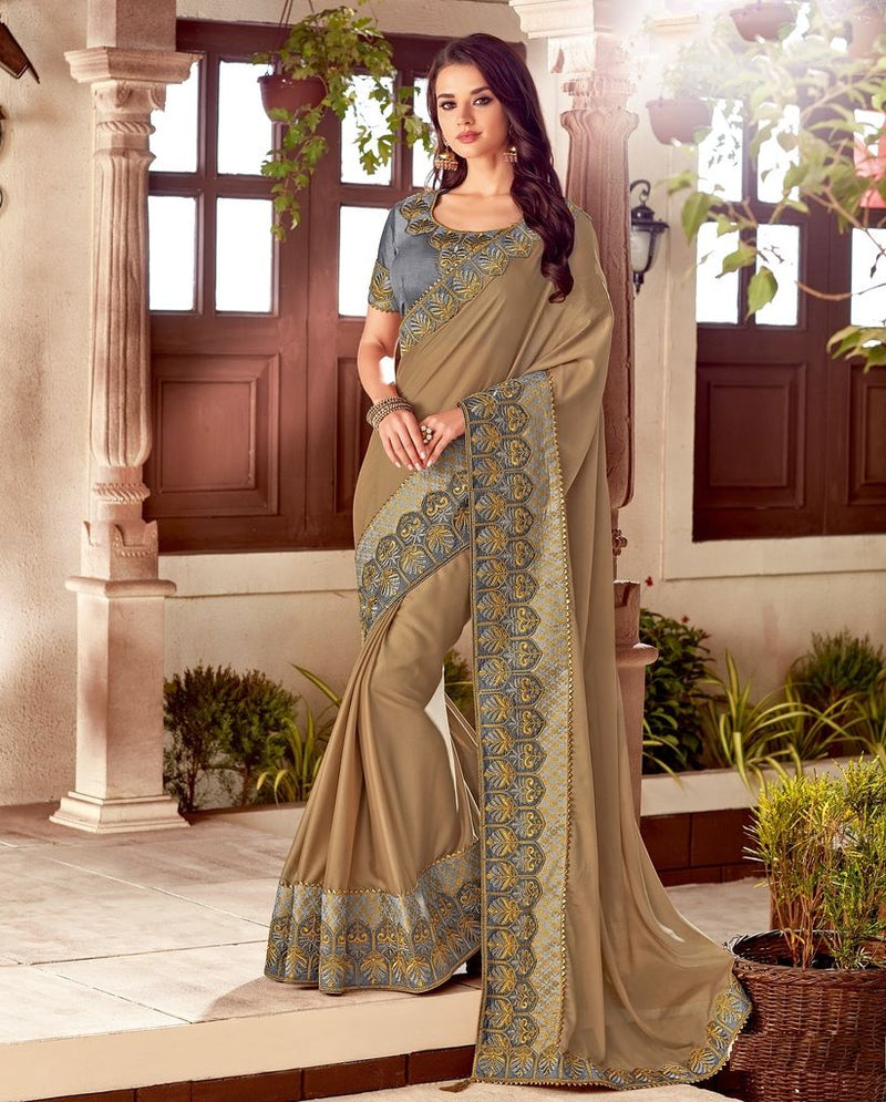Beige Color Two Tone Silk Designer Festive Sarees : Yashvita Collection  NYF-1627 - YellowFashion.in