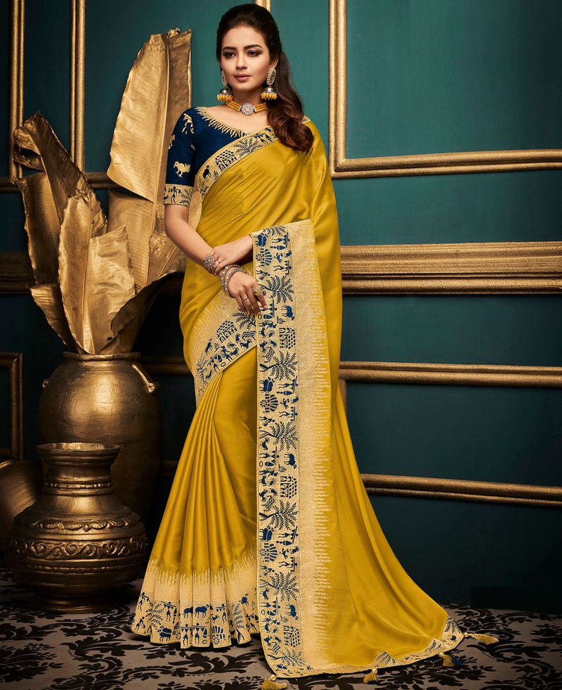 Golden Yellow Color Raw Silk Designer Festive Sarees : Abhidha Collection  NYF-2026 - YellowFashion.in