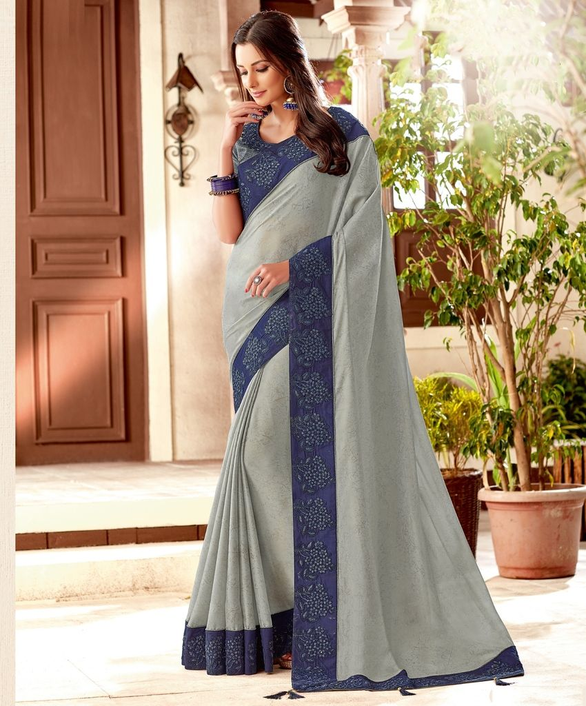 Grey Color Lycra Designer Festive Sarees : Yashvita Collection  NYF-1629 - YellowFashion.in