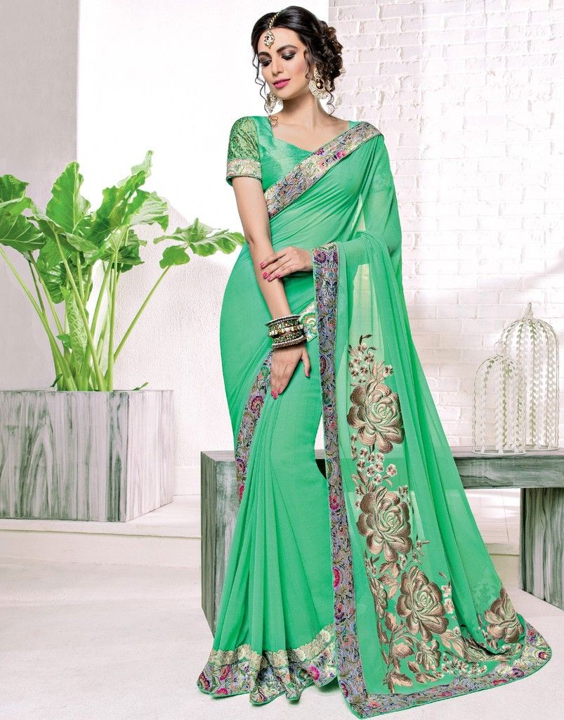 Green Color Chiffon Designer Festive Sarees : Karini Collection  NYF-1266 - YellowFashion.in