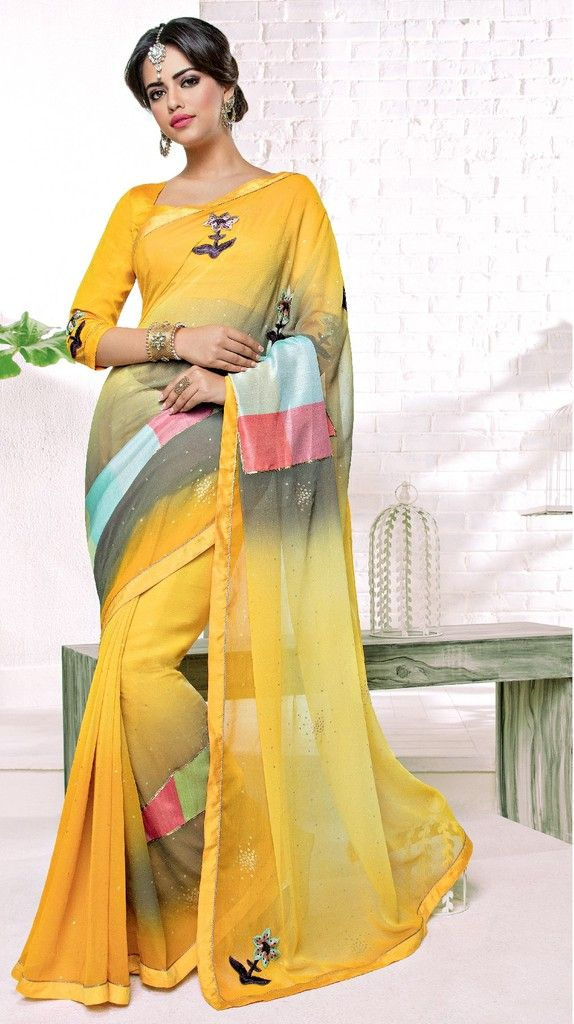 Yellow Color Chiffon Designer Festive Sarees : Karini Collection  NYF-1267 - YellowFashion.in
