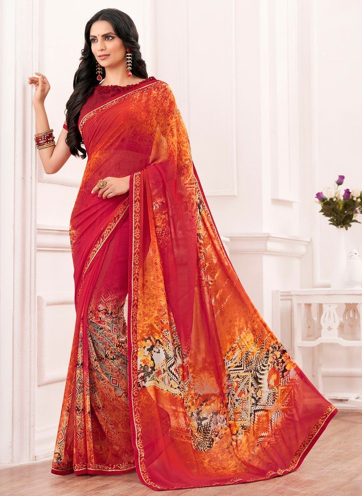 Red & Orange Color Chiffon Designer Festive Sarees : Karini Collection  NYF-1269 - YellowFashion.in
