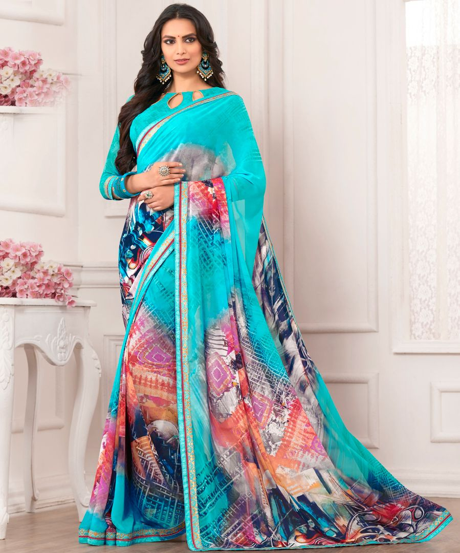 Aqua Blue Color Chiffon Party & Function Wear Sarees : Ranjita Collection  NYF-2474 - YellowFashion.in