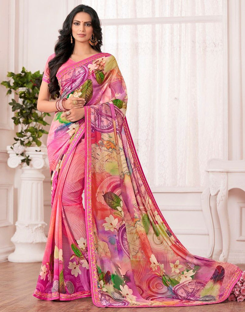 Multi Color Chiffon Designer Festive Sarees : Karini Collection  NYF-1270 - YellowFashion.in