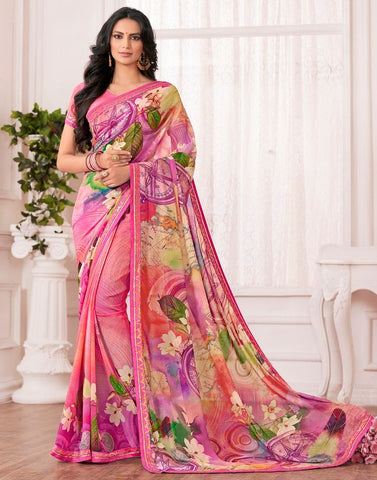 Multi Color Chiffon Designer Festive Sarees : Karini Collection  NYF-1270