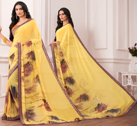 Yellow Color Chiffon Designer Festive Sarees : Karini Collection  NYF-1271