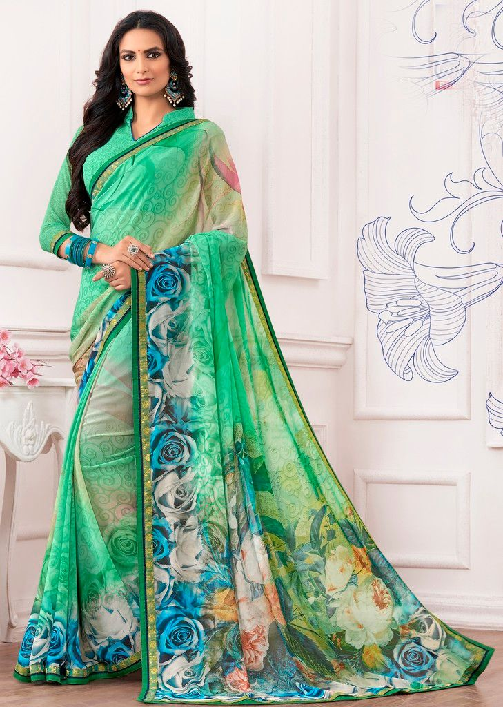 Green Color Chiffon Designer Festive Sarees : Karini Collection  NYF-1272 - YellowFashion.in