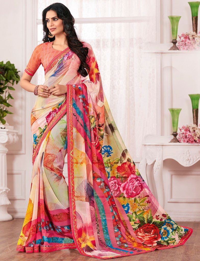 Multi Color Chiffon Designer Festive Sarees : Karini Collection  NYF-1273 - YellowFashion.in