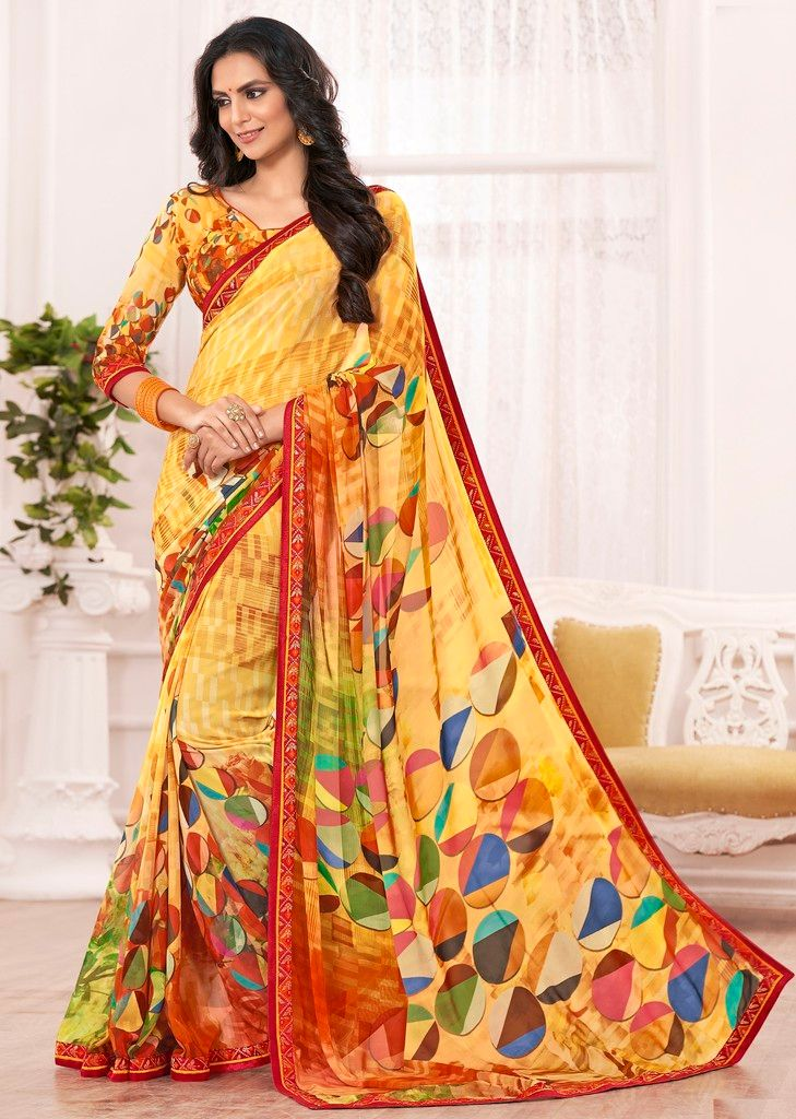 Yellow Color Chiffon Designer Festive Sarees : Karini Collection  NYF-1274 - YellowFashion.in