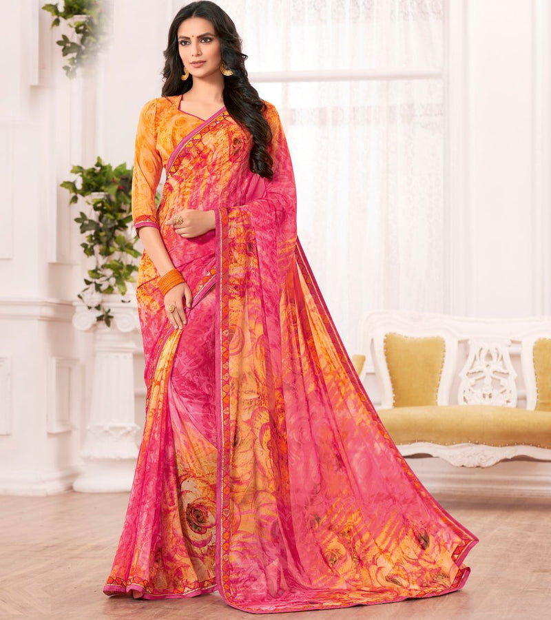 Pink & Orange Color Chiffon Party & Function Wear Sarees : Ranjita Collection  NYF-2475 - YellowFashion.in