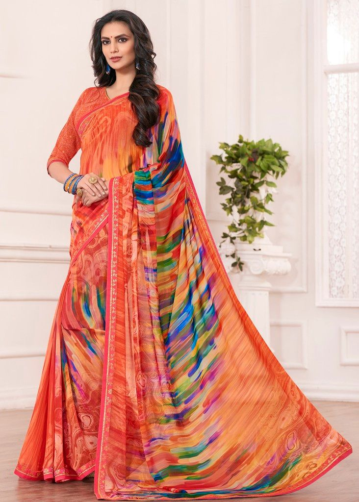 Orange Color Chiffon Designer Festive Sarees : Karini Collection  NYF-1275 - YellowFashion.in