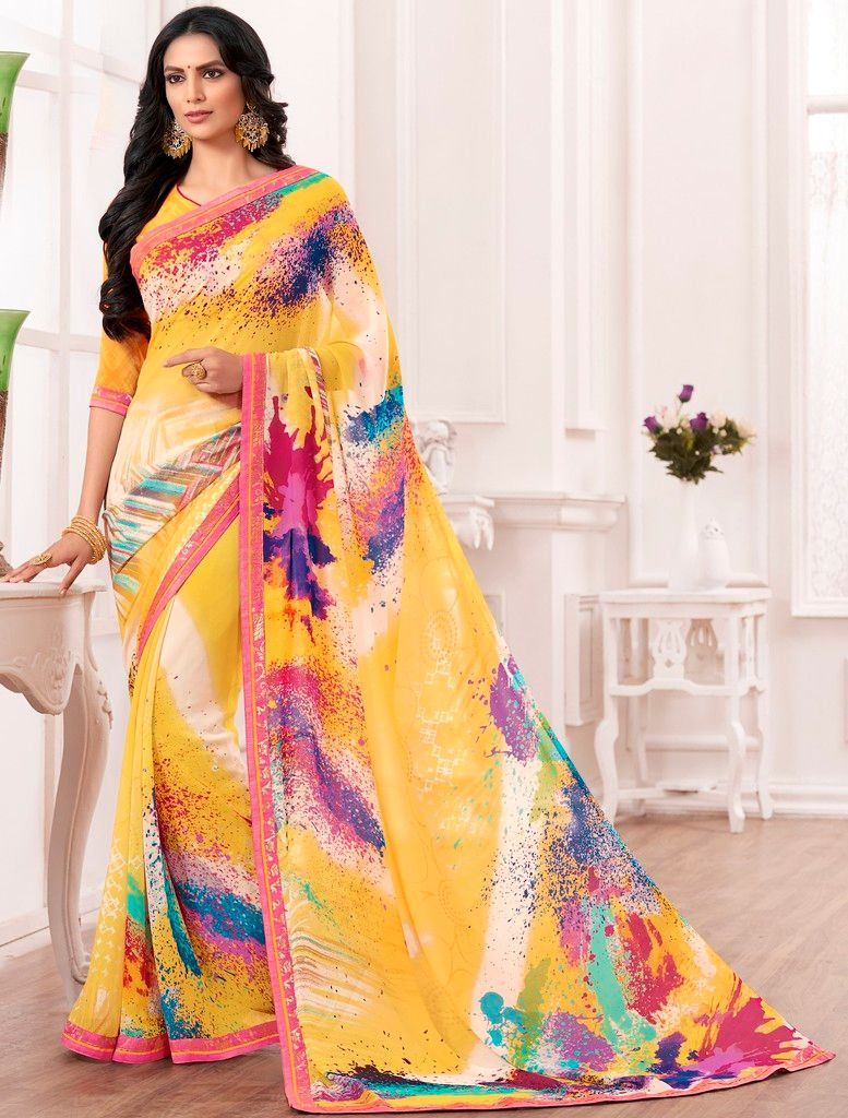 Yellow Color Chiffon Designer Festive Sarees : Karini Collection  NYF-1276 - YellowFashion.in