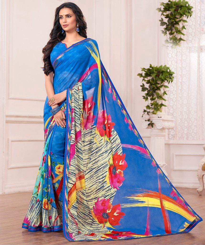 Blue Color Georgette Designer Festive Sarees : Karini Collection  NYF-1278 - YellowFashion.in