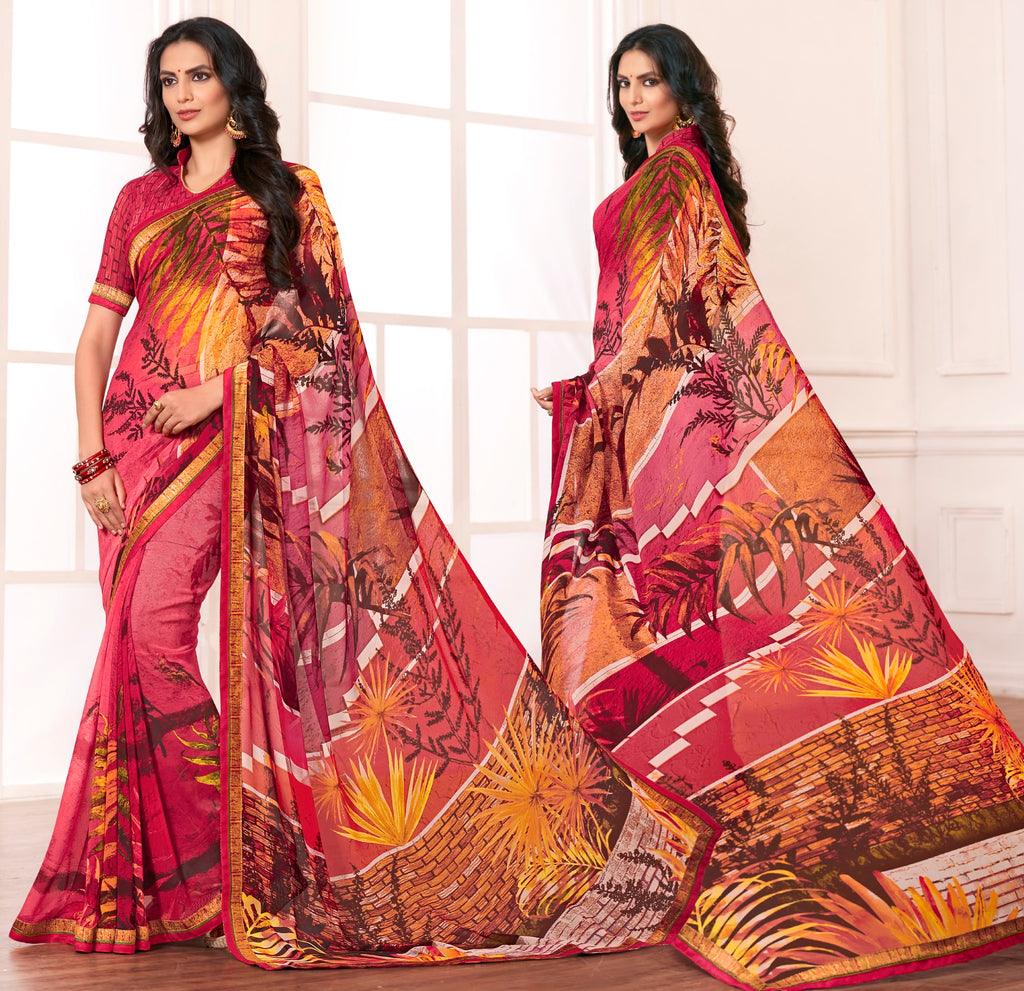 Multi Color Chiffon Designer Festive Sarees : Karini Collection  NYF-1279 - YellowFashion.in