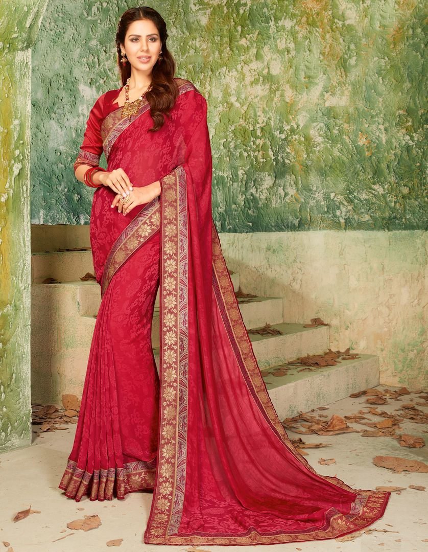 Maroon Color Raw Silk Party & Function Wear Sarees : Ranjita Collection  NYF-2470 - YellowFashion.in