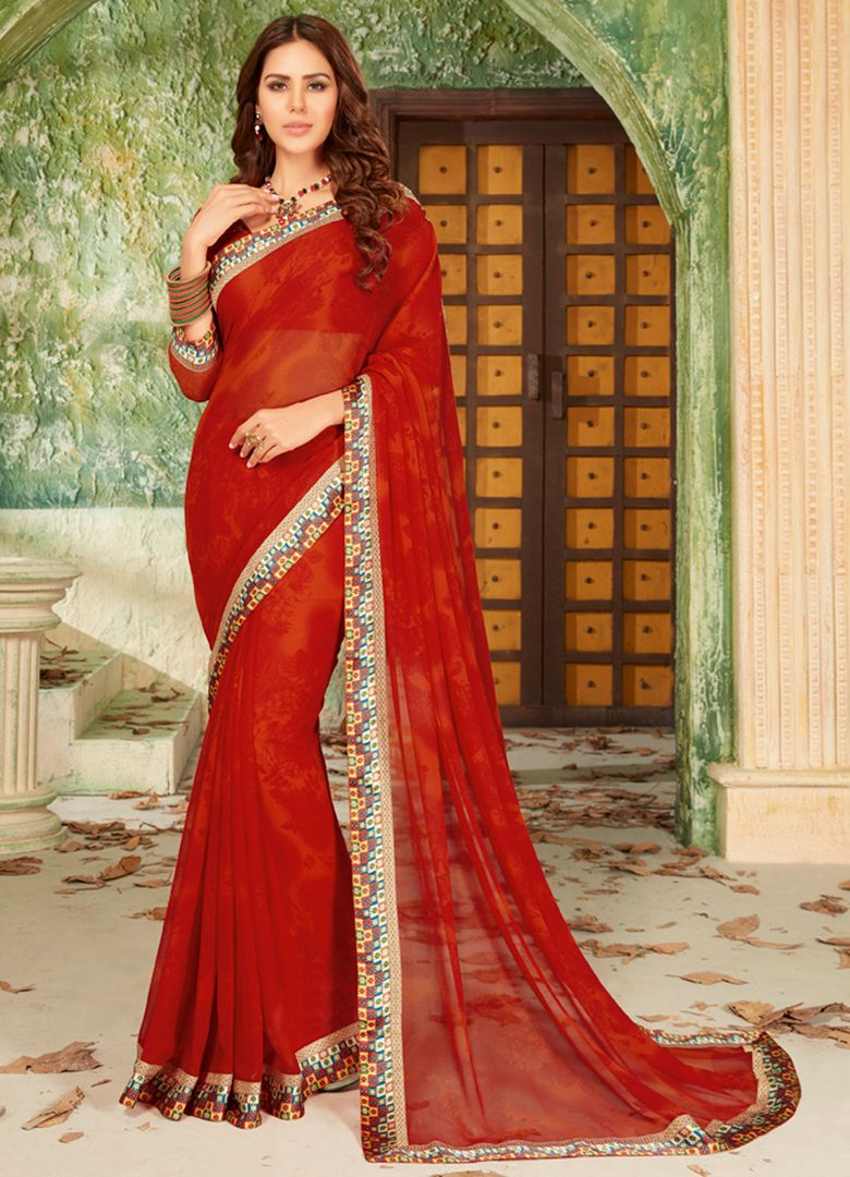Sindoori Red Color Georgette Party & Function Wear Sarees : Manohara Collection  NYF-2381 - YellowFashion.in