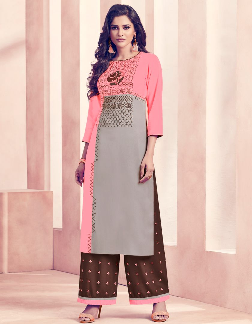 Pink & Grey Color Rayon Beautiful Kurti With Bottom NYF-4741